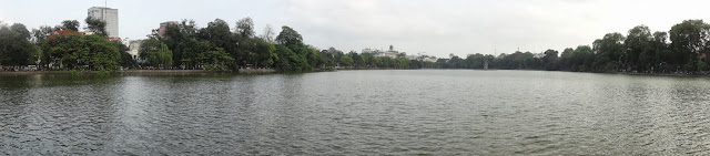 A panoramic view of Hoan Kiem Lake or also known as Lake of the Returned Sword in Hanoi, Vietnam