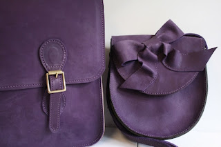 Purple briefcase handmade leather bag