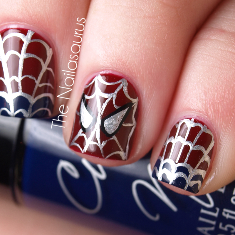 The amazing spider nails spider man nail art the nailasaurus i watched it first thing this morning which has renewed my excitement for the movie and my love affair with marvelsuperhero nail art prinsesfo Choice Image