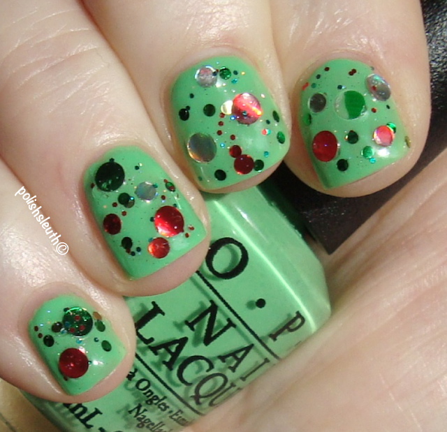 KB Shimmer's Kringle All The Way over OPI's You're So Outta Lime