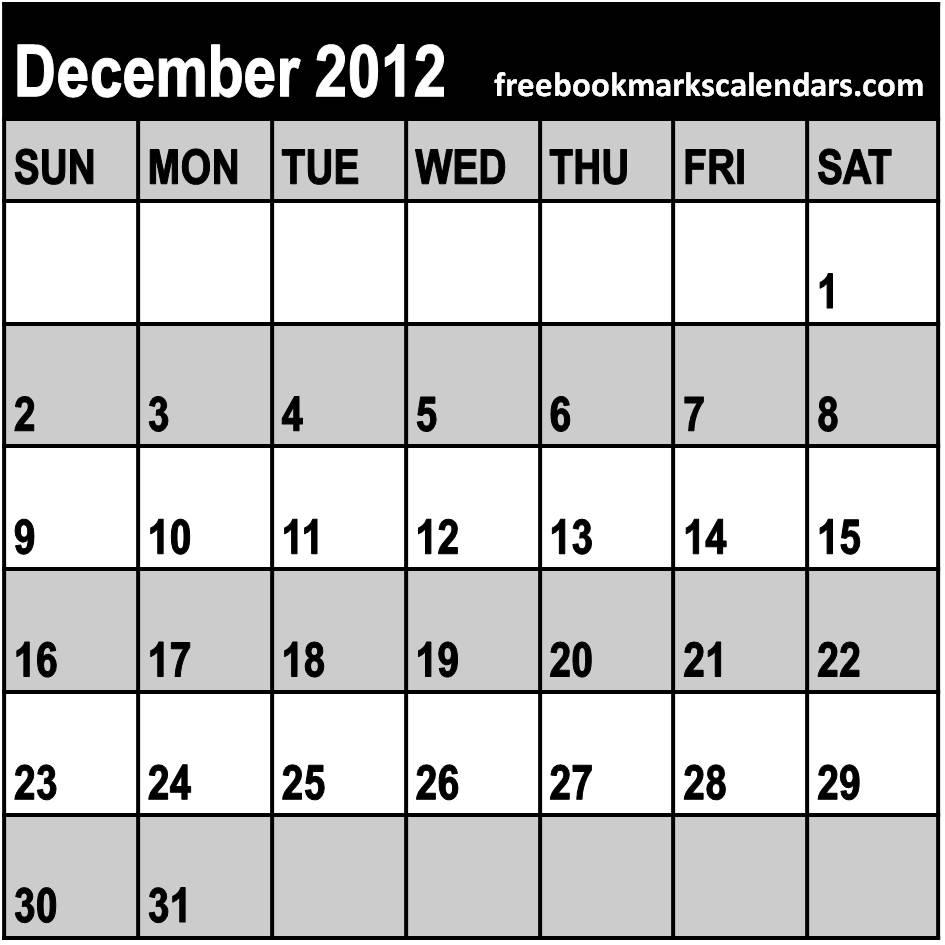 Printable Blank Monthly Calendar December 2014