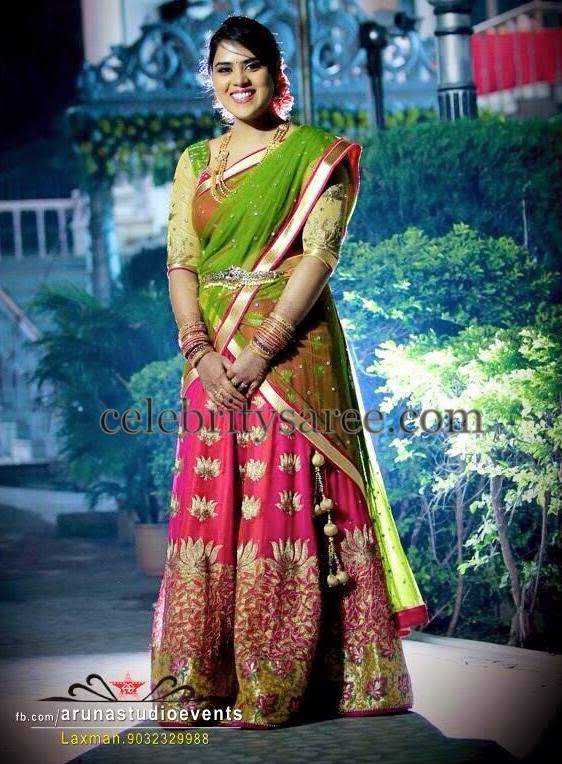 Bride in Lotus Half Saree