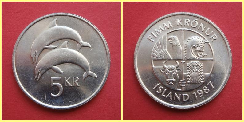 Moneda 5 Coronas Islandia