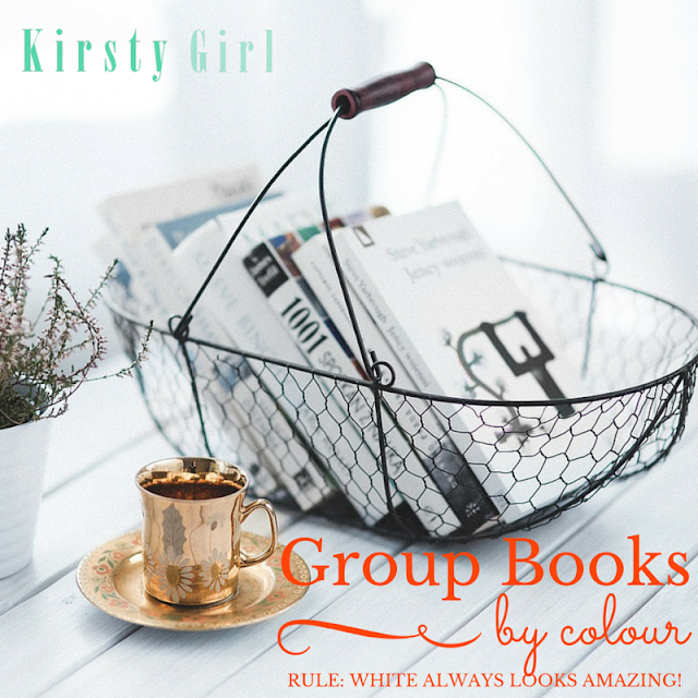 Group Books together and organise in colour to save on precious shelf space when you're a decorator and bibliophile