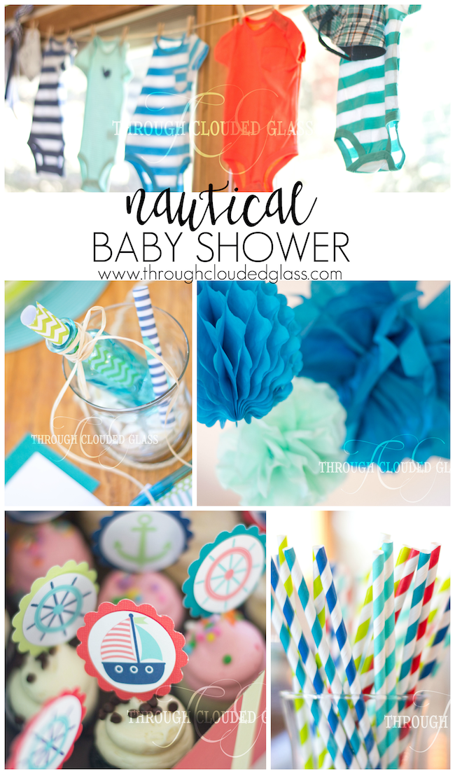 nautical baby shower through clouded glass