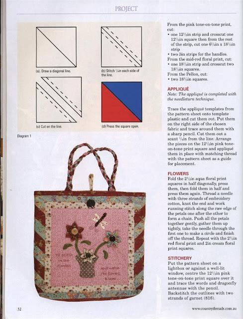bolsa de tecido em patchwork com moldes e PAP (DIY)