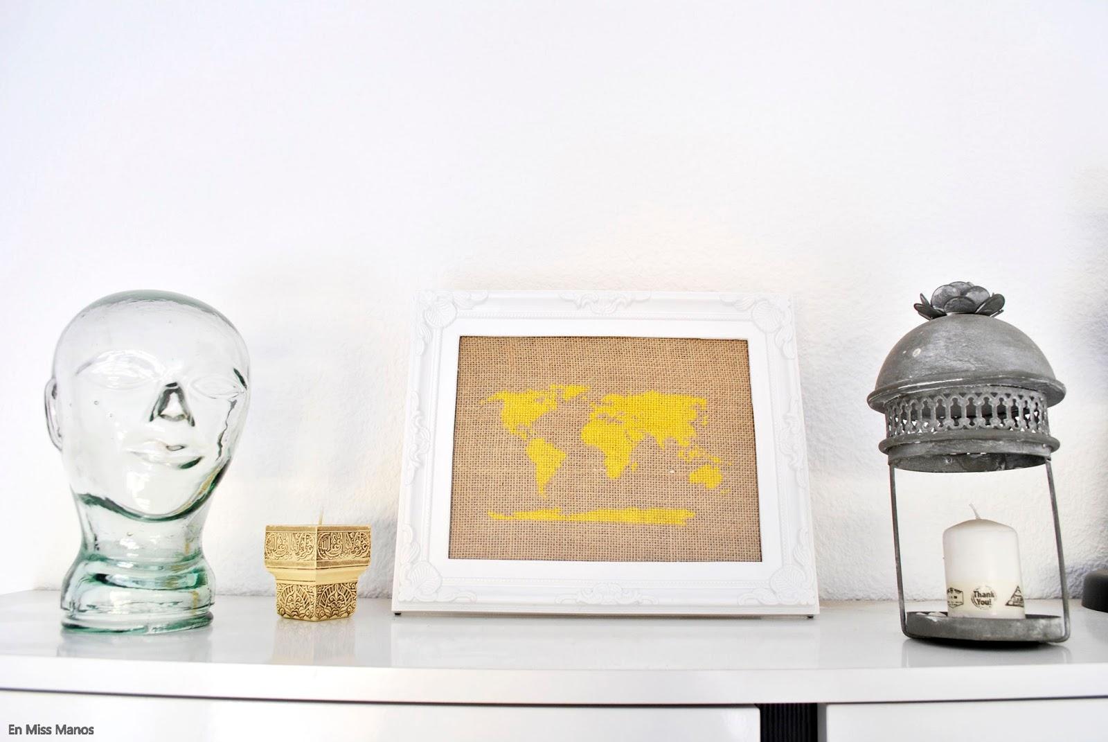 En Miss Manos: Punto de cruz en decoración + Patrón mapamundi
