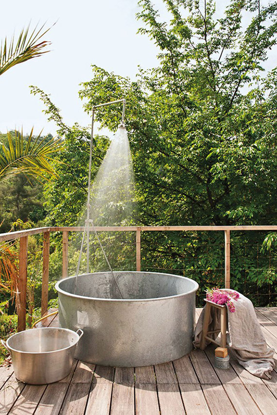 Outdoor shower | Image of Graine & Ficelle via Condé Nast Traveller