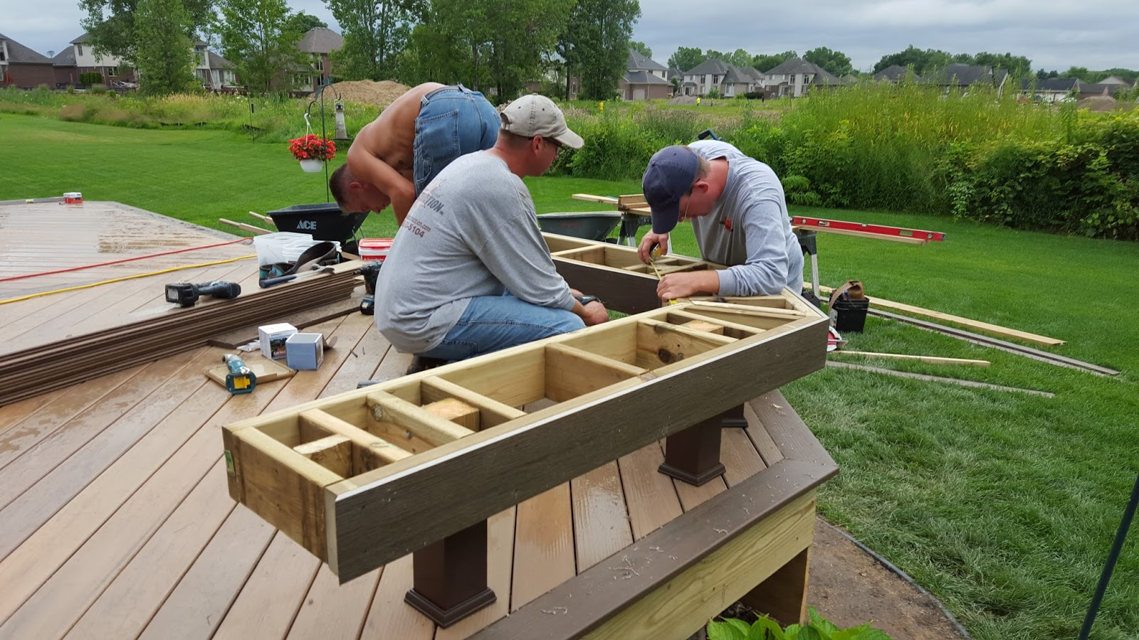 Outdoor living how to build a low to the ground deck part 2 for Building a composite deck