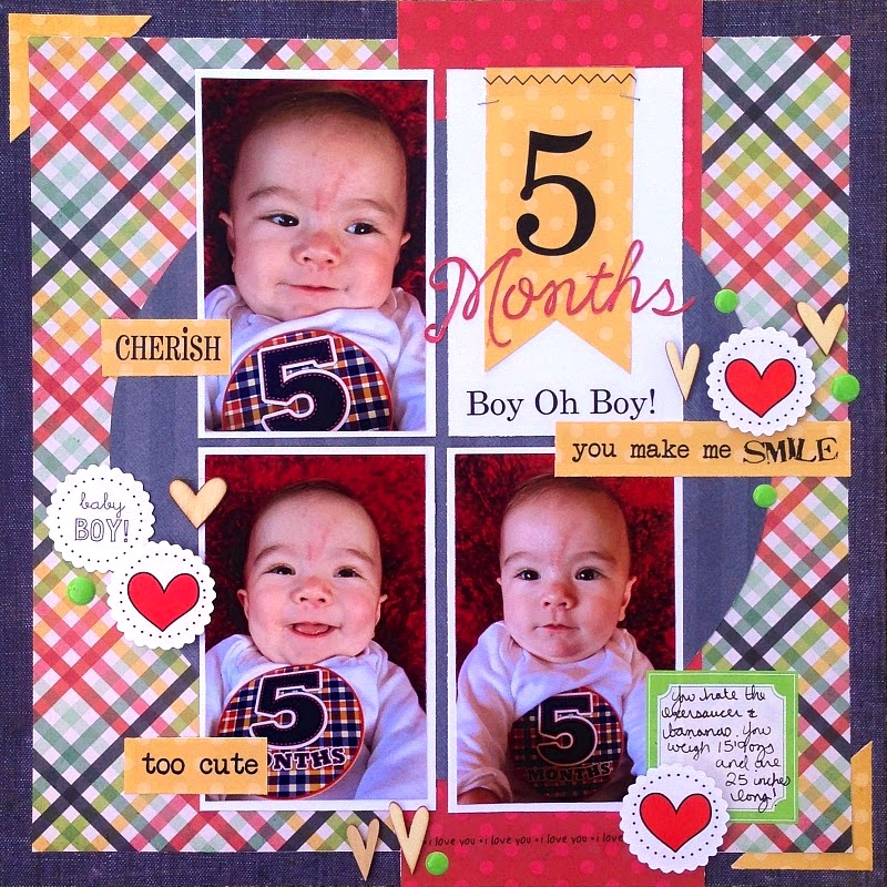 SRM Stickers Blog - 5 Months Layout by Christine - #layout #baby #boy #numbers #stickers #labels #stitches #sentiments #punched pieces