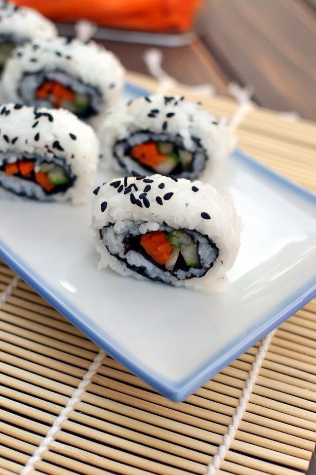 Cucumber & Carrot California Sushi Roll (Vegan Recipe)