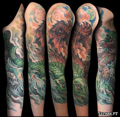 Dragão tatuado no Braço enteiro de Tatuagens