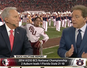 Nick Saban celebrates Lee Corso's 80th birthday by donning Big Al's mascot head.