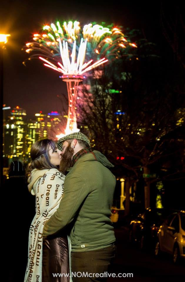 Space Needle firewords light up Jen and Brandon's wedding kiss - Patricia Stimac, Seattle Wedding Officiant