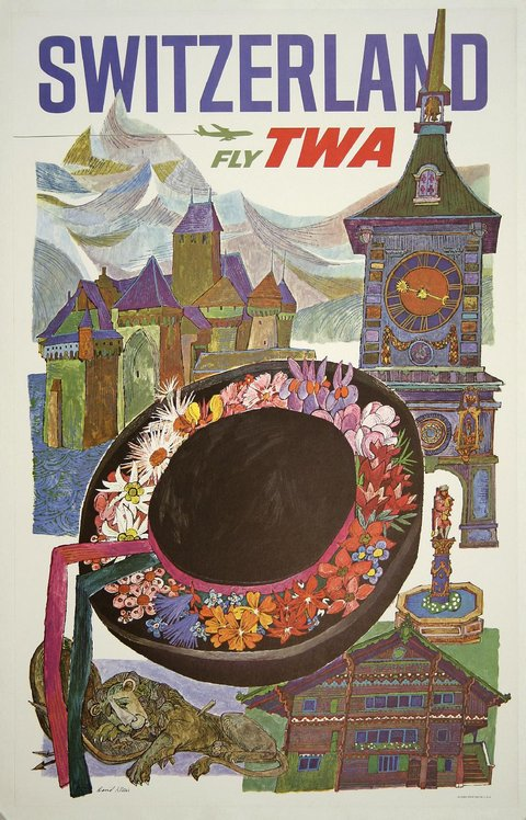 classic posters, free download, graphic design, retro prints, travel, travel posters, vintage, vintage posters, Switzerland Fly TWA - Vintage Travel Poster