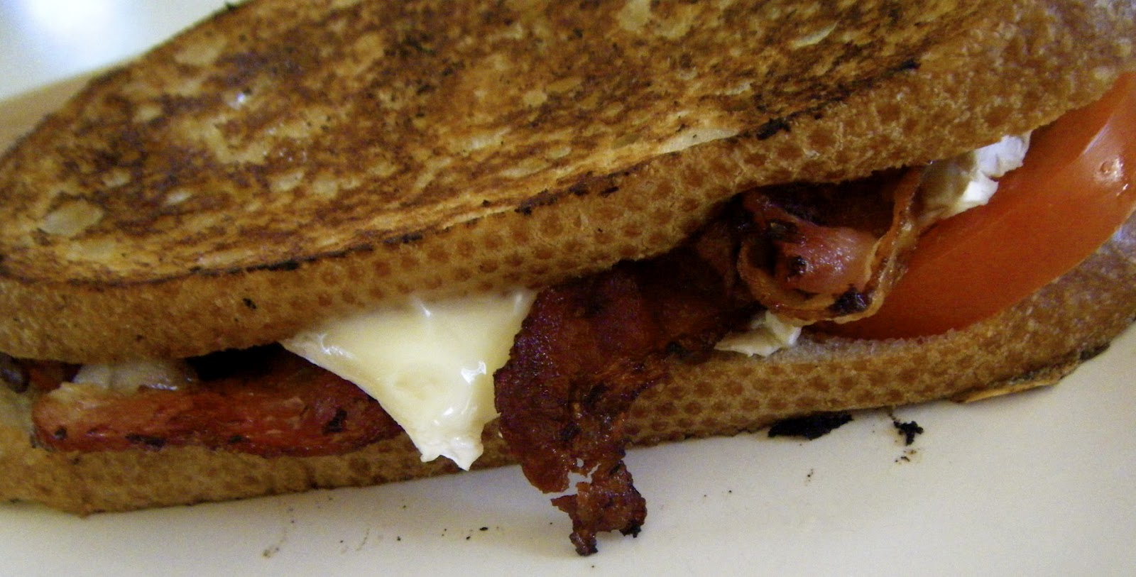 Grilled Brie And Goat Cheese Sandwich With Bacon And Green ...