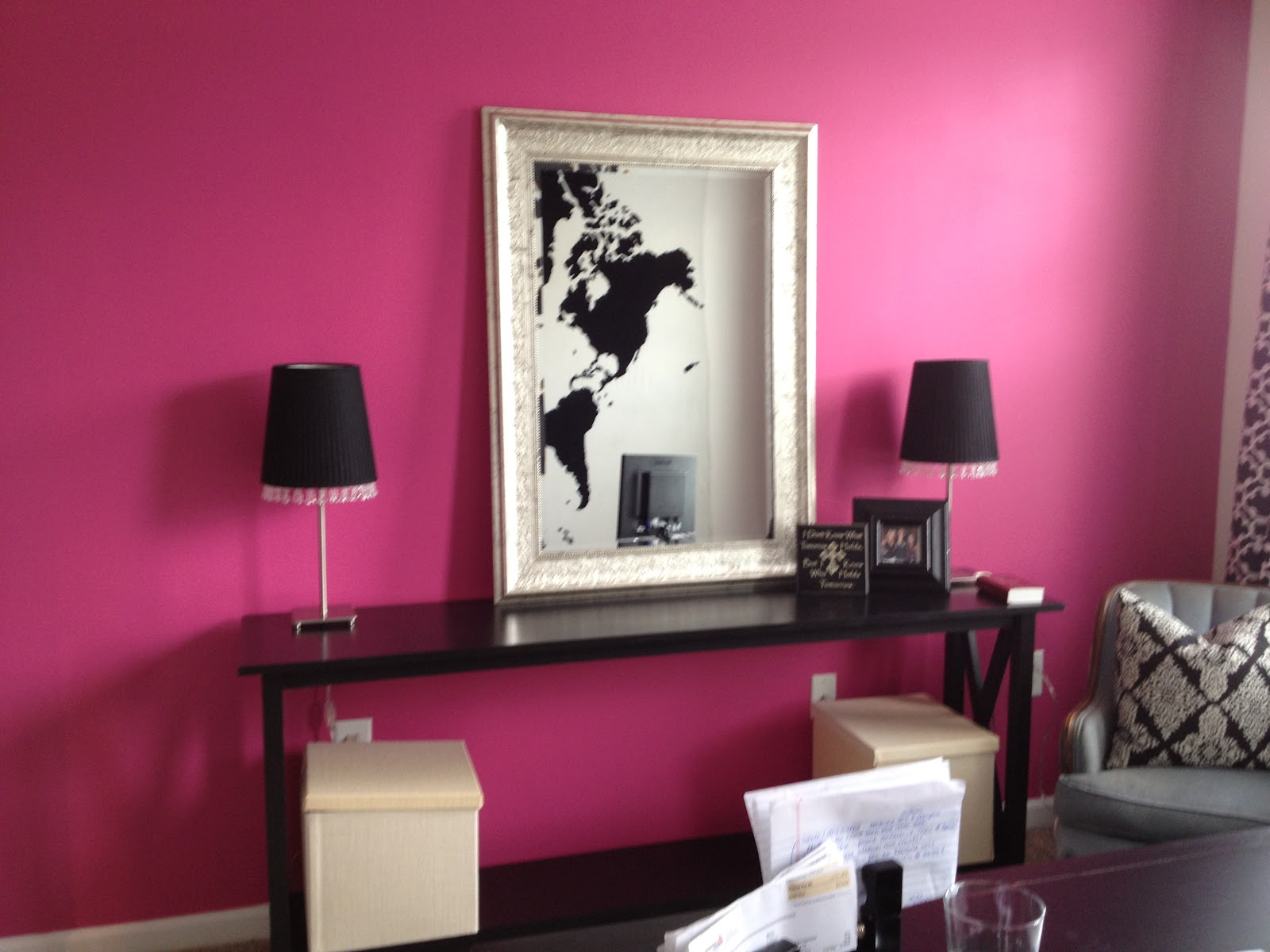 Pink Accent Wall sensible-redesign: my daughters at home office