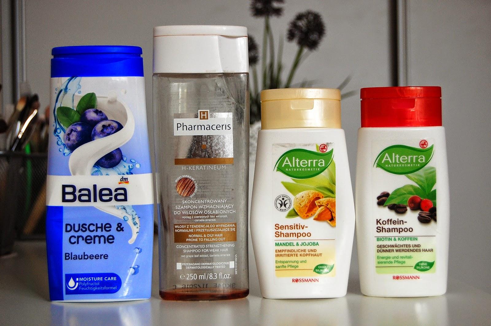 1. Balea- kremowy żel pod prysznic- kokos i nektarynka 2. Pharmaceris H, Keratineum- skoncentrowany szampon wzmacniający do włosów osłabionych 3. Alterra - Łagodny szampon dla wrażliwej i podrażnionej skóry głowy- migdały i jojoba 4. Alterra- Szampon do włosów osłabionych i przerzedzających się- biotyna i kofeina