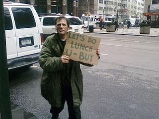 funny homeless sign lets do lunch