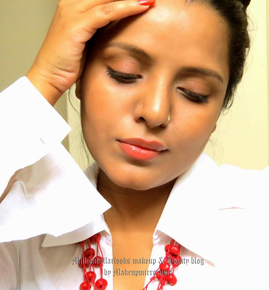 http://milliondollarlooks.blogspot.com/   Bronzed skin and Soft Orange-y peach makeup | Summer Makeup Look, FOTD, Indian makeup blog, Indian beauty blog, Makeup and beauty blog India, Summer daytime makeup, Peachy orange makeup for day, Milliondollarlooks makeup and beauty blog by Makeupmirrornme, Beautyblogger