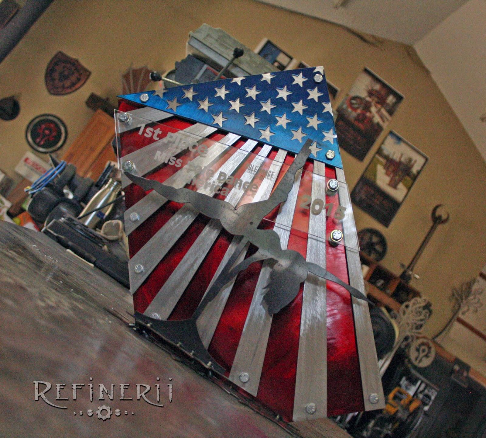 custom trophy, custom award, Miss Pole Dance America, american flag, metal, metal art, metal work, award