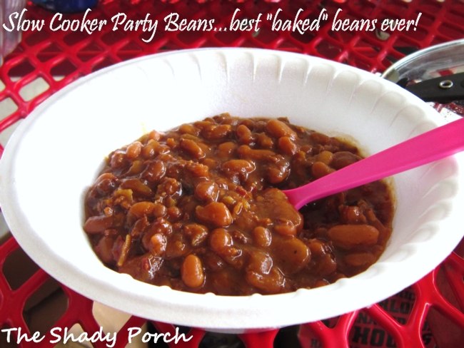 Slow Cooker Party Beans #cookout #side dish #crowd cooking