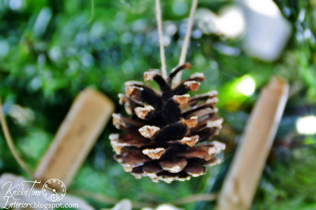 glittered pine cone ornament on vintage style Christmas tree - KnickofTime.net