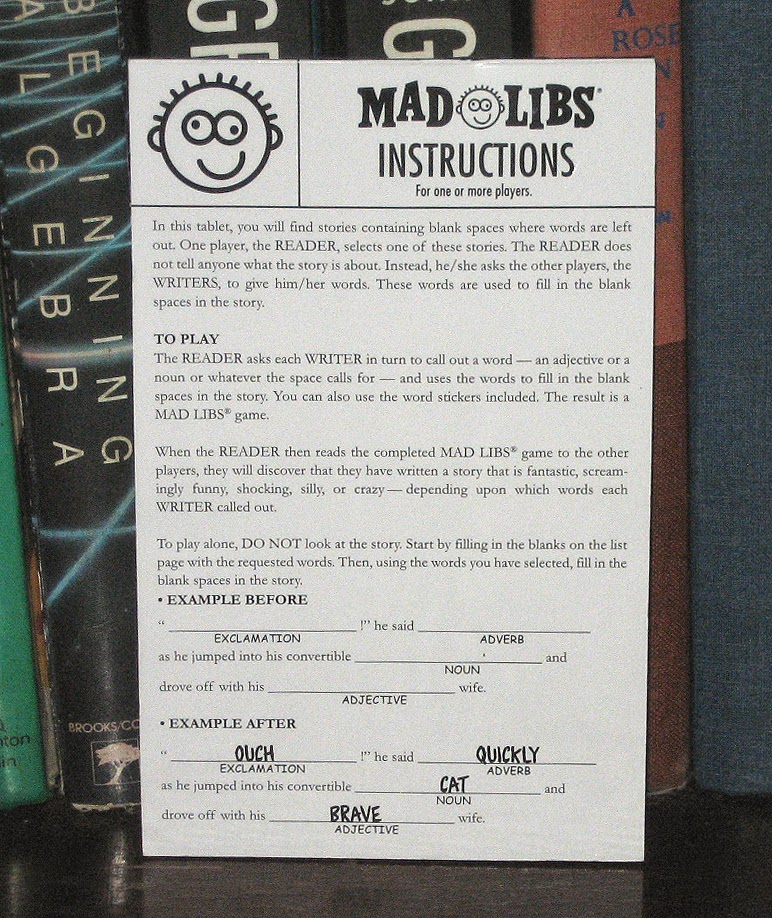Percys Fast Food Toy Stories Mad Libs Instruction Card Chick Fil A