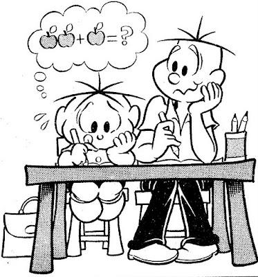 Desenho do Cebolinha estudando para colorir