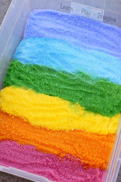 Rainbow Epsom salt sensory bin - how to dye Epsom salts