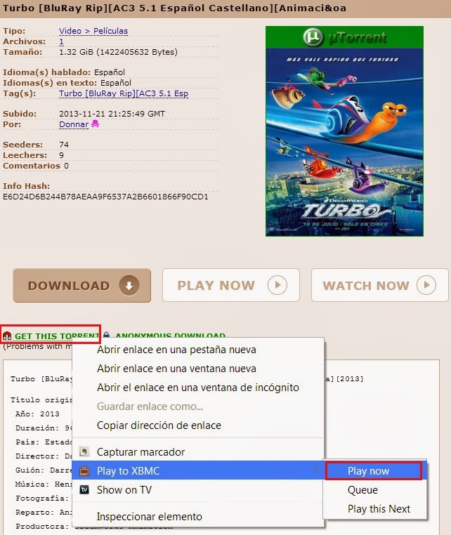 PLAY TO XBMC PIRATE BAY