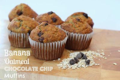 Banana Oatmeal Chocolate Chip Muffins | http://momvstheboys.com
