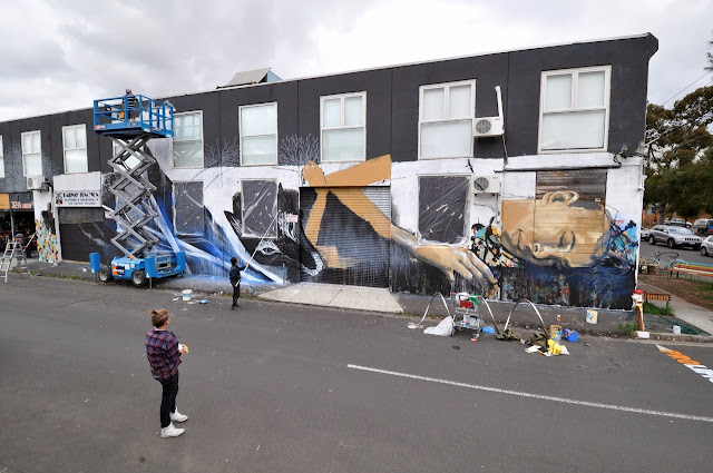 Street Art Collaboration by Shida, Two one, Eno, Taylurk in East Brunswick Melbourne. 2