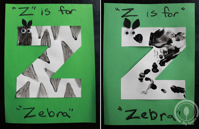 Toddler/Preshooler letter of the week craft Z is for Zebra with related craft, tracing sheets and fruits/vegetables.