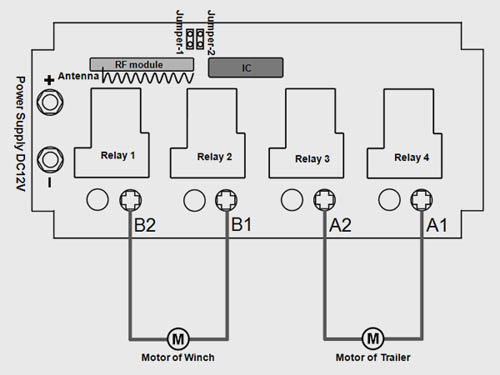 2 channel 12vdc motor remote control trailer  u0026 winch