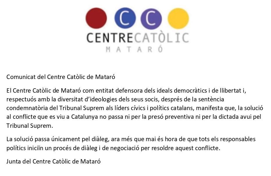 Comunicat Centre Catòlic de Mataró