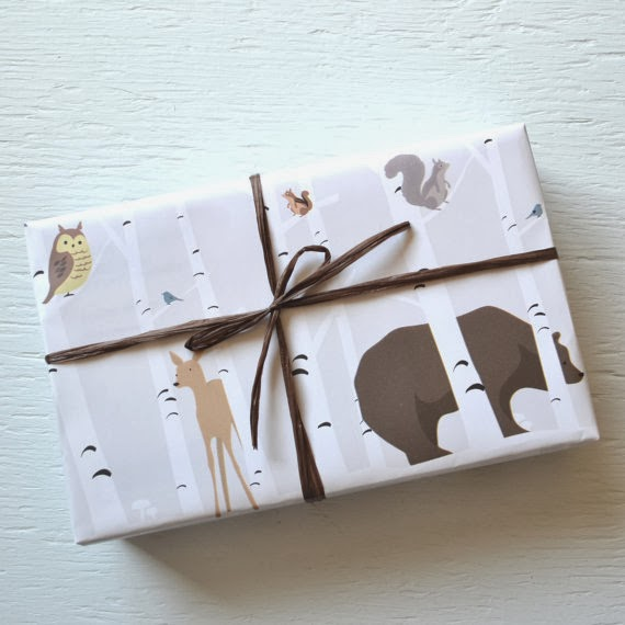 10 feet FOREST FRIENDS wrapping paper, birch trees, deer, bear, owl, squirrels