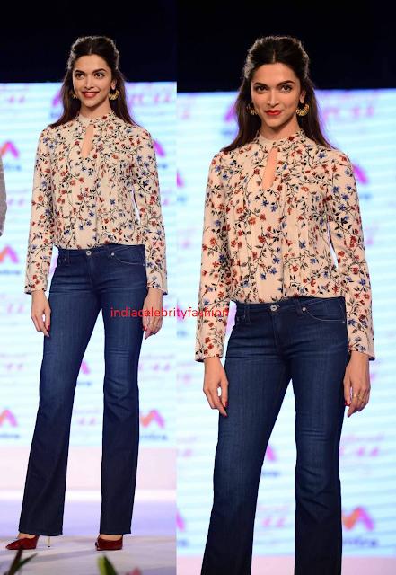 Deepika Padukone in Top and Denims  at myntra fashion show