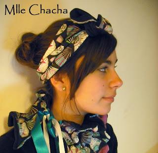 bandeau ceinture col écharpe mlle chacha,Bandeau, turban, ceinture, accessoire de mode, créateur,Mlle chacha, bandeau, col écharpe, turban, français, fait main,
