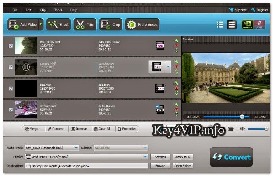 Aiseesoft MXF Converter v7.1.58 Full Key,Phần mềm chuyển MXF sang các định dạng khác