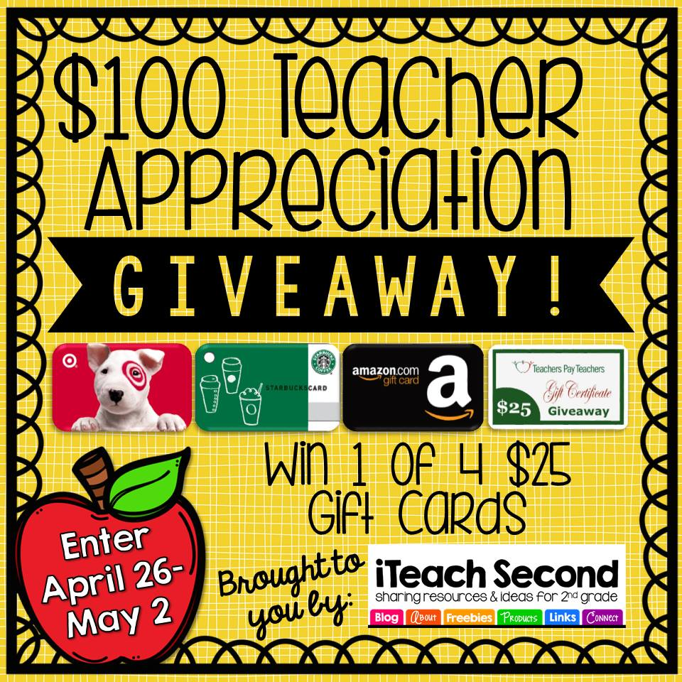 Huge Teacher Appreciation Giveaway at iTeachSecond and Fern Smith's Classroom Ideas