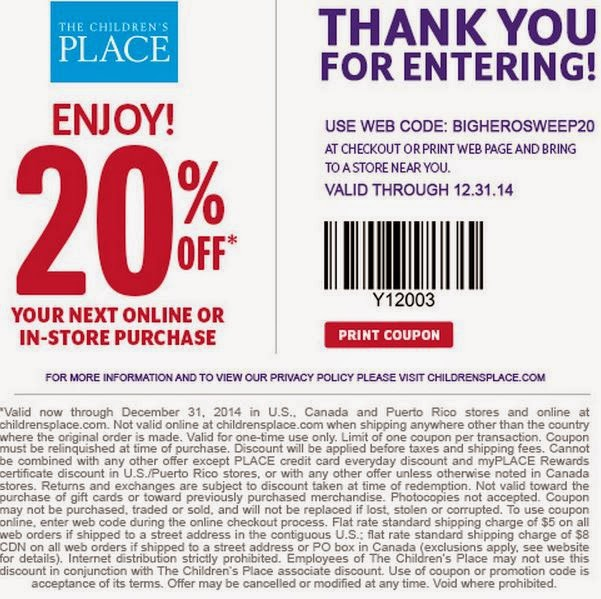 The children's place outlet coupon august 2018