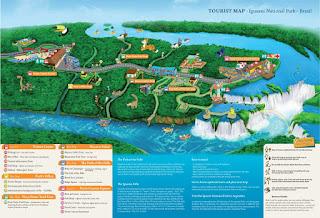 Map of Iguazu National Park in Brazil