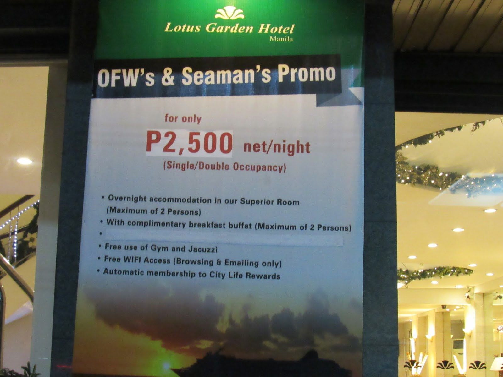 Promo Price For Lotus Garden Hotel Manila Is Posted On Entrance