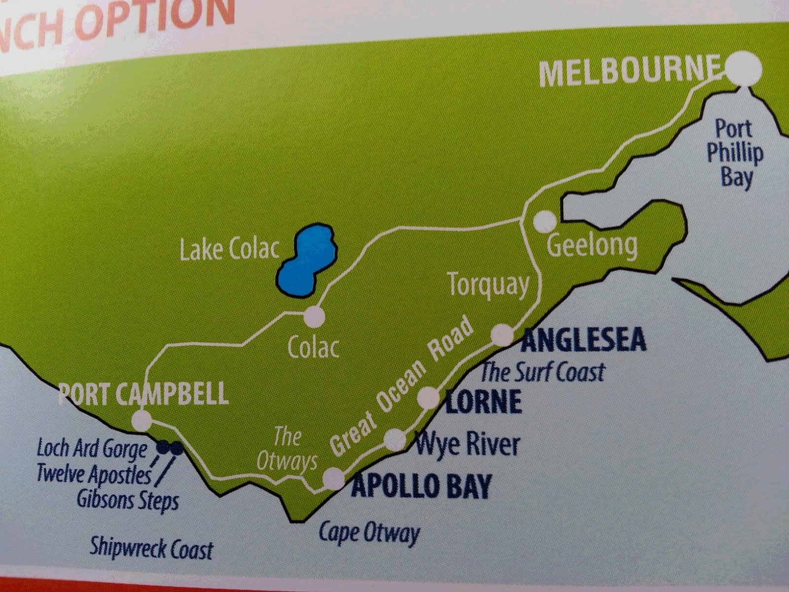 this is a road map we are going to drive a coast until port cambell and come back on forest road