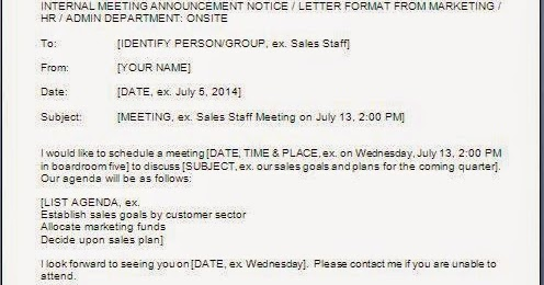 Internal Meeting Request Email Sample