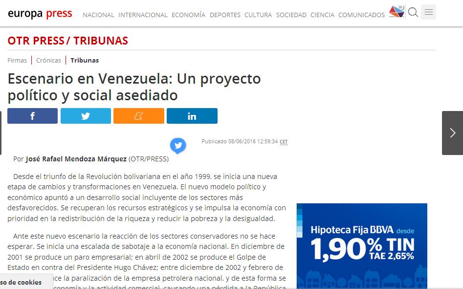 Escenario en Venezuela: Un Proyecto político y social asediado