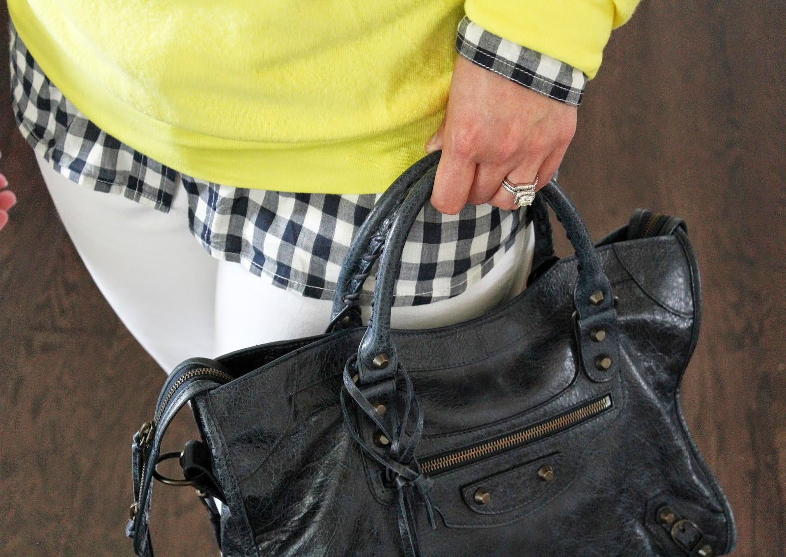 Navy, White Loft Jeans, Balenciaga Bag Navy