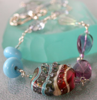Sunset on the Beach: glass by Tania Tebbit, wire wrapping, sterling silver :: All Pretty Things