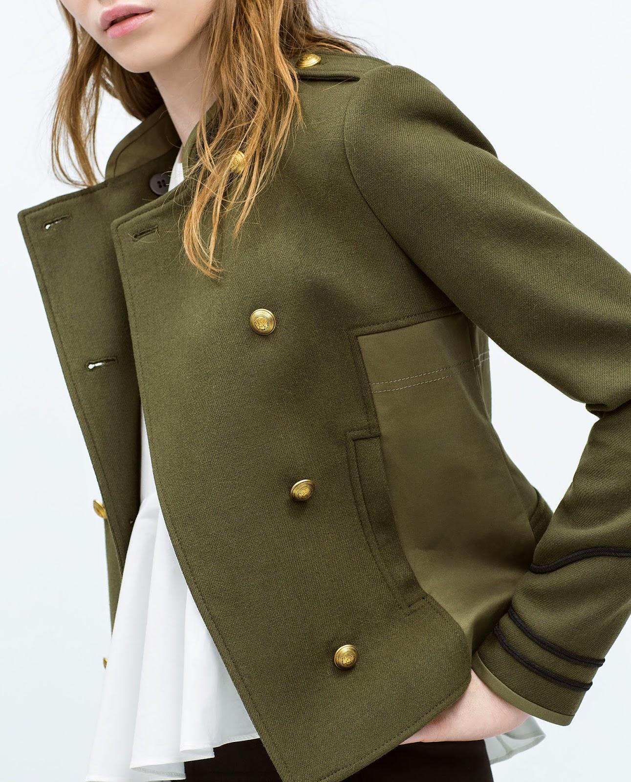 zara khaki jacket, zara military jacket,